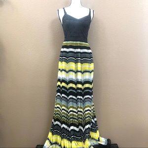 Free people sleeveless maxi black yellow stripes 0